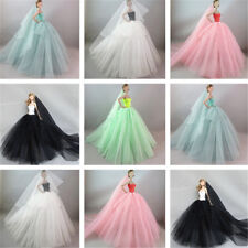 Handmade Fashion Princess Party Dress/Wedding Clothes/Gown+veil for Barbie Doll