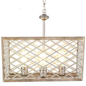 "Home Decorators Wallace Manor 4 Light Pewter Pendant 18"" Square Chandelier"