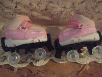 Build a Bear Skechers Pink & White Rollar Skates
