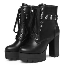 Combat Ankle Boots For Women Platform Military Motorcycle Chunky Heel US 6