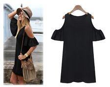 VIERA BEAUTIFUL BOHO SIZE 12 BLACK STRETCH COTTON RUFFLE OPEN SLEEVE TUNIC DRESS