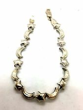 Solid 925 Sterling Silver Star & Moon Bracelet with Hollow Links