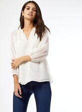 Dorothy Perkins Womens Ivory Foil Spot Print Top 3/4 Sleeve V-Neck Blouse