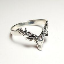 Deer Antlers Sterling Silver Ring Fashion Fawn Animal Head