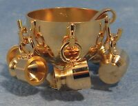Dolls House Miniature 1/12th Scale Gold Coloured Punch Bowl, Cups and Ladle