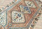 """3'10""""x 6'6"""" HAND-KNOTTED ANTIQUE c.1900 CAUCASIAN KAZAK WOOL MUTED VG-DY RUG"""