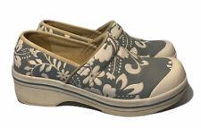 Womens Dankso Blue White Hawaiian Tropical Floral Print Vegan Comfort Clogs 38