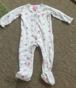 Joules white babygrow sleepsuit pink spots age 9-12 months