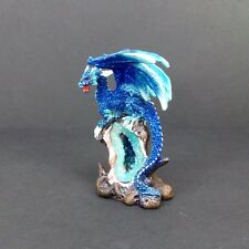 Blue Dragon on Geode Statue Mythical Fantasy Small Dragon Figurine