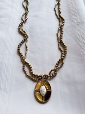 """Lia Sophia Gold Tone Beaded Mother of Pearl Oval Pendant Necklace 30"""""""