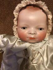 "17"" Antique German Bisque Head Putnam Bye Lo Baby Doll w/ stamped body & blanket"