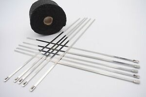 Black Exhaust Heat Wrap 10 Meter and 10 Ties Manifold Downpipe Bandage Tape Roll