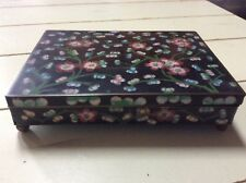 Old Chinese Porcelain on Brass ENAMEL CLOISONNÉ Hinged Footed 2 Section Box
