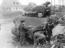 WWII B&W Photo M4 Sherman Tank Having Concrete Armor Applied   WW2 / 3026
