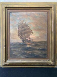 🔥 Antique 19th c. Tonalist Impressionist Nautical Seascape Oil Painting - Espey