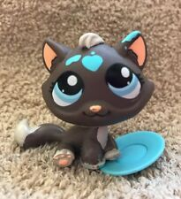 Littlest Pet Shop LPS Gray Splattered Paint CAT #815 BLUE EYES Messiest Kitty