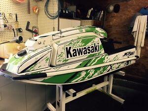 Kawasaki 550 SX Jet Sci Avvolgere Grafica Pwc Stand Up 7 Jetski Calcomania Fondo