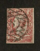 Saxony stamp #13, used, fancy numerical cancel, German State, imperf,  SCV $65