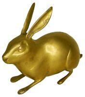 Rabbit Figurine Old Handcrafted Brass Animal Statue Sculpture Figure Rich Patina