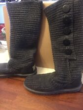 UGG CLASSIC CARDY TALL KNIT SWEATER BOOTS SIZE 7 WOMENS Dark GRAY