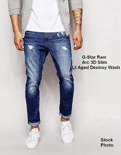G Star Raw Arc 3D Slim Straight Jeans Aged Destroy Wash Sz 31 X 32 NEW  $190