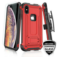 .For Apple iPhone XS Max/XR/X Rugged Case 360° Belt Clip Holster +Tempered Glass