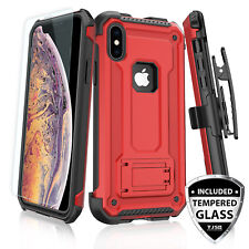 For Apple iPhone XS Max/XR/X Rugged Case 360° Belt Clip Holster+Tempered Glass