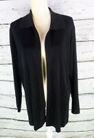 Exclusively Misook Black Cardigan Open Front Acrylic Knit Solid