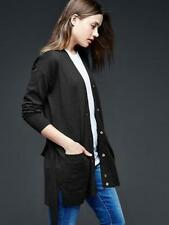 GAP Womens Brooklyn V-neck Long Boyfriend Cardigan Button Sweater Black S NWT$60