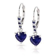 Solid 3.32 Ct Diamond Blue Sapphire Gemstones Earrings 14K White Gold HOOP