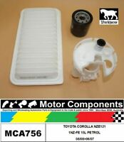 FILTER SERVICE KIT FOR TOYOTA COROLLA NZE121 1NZ-FE 15L PETROL 08/08>06/07