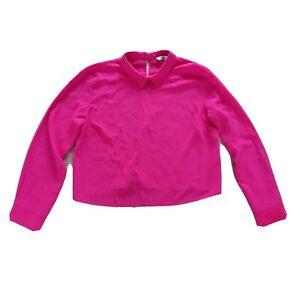 Miss Selfridge Size 16 Magenta Pink Collared Long Sleeve Blouse