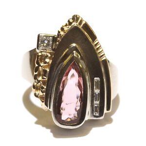 14k yellow white gold .13ct VS1 G diamond Imperial topaz womens ring 9.8g size 5