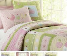Pottery Barn Kids Darcie Twin Quilt Sham Comforter Birds Cupcakes Pink Gingham