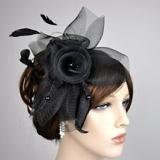 Serre-tête Fascinator perles plumes bijou pour Cheveux Mariage Fleur Noir