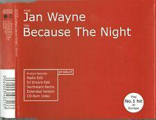 """JAN WAYNE - 5"""" CD - Because The Night (4 Mixes + Video) Springsteen"""