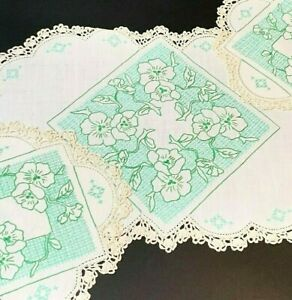 Cream Linen 3pc Embroidered Doily Duchess Set, Green Briar Roses, Immaculate