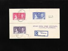 Mauritius G.P.O 1937 Registered Set George VI Coronation Cover to Kenya ! 7y
