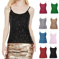 US Women Ladies Sequined Bling Shiny Tank Tops Sleeveless T Shirts Blouse Vest