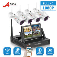 """ANRAN 4CH 1080P CCTV Wireless Security Camera System Outdoor 7""""Monitor HDMI NVR"""