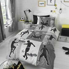 HLC Boys Girls Kids Freestyle Football Tricks Grey Charcoal Duvet Cover Curtains