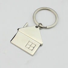 New House Home Keyring Alloy Pendant Keyfob Chrome Key Bag Chain Wedding Gift