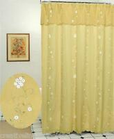 Daisy 3D & Embroidery Floral Fabric Shower Curtain Gold New Creative Linens