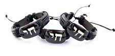 3pc Bracelet Leather Chai (LIfe) living Jewish One Size israel Wristband black