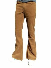 Mens FLARES Tan Brown Bell Bottoms vtg indie Trousers Beige Hippie Retro 70s 60s