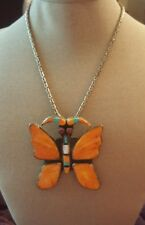 NATIVE AMERICAN STERLING SPINY OYSTER TURQUOISE MOP BUTTERFLY PENDANT & NECKLACE