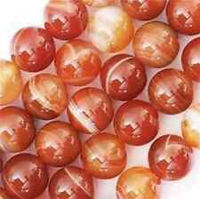 AAA Natural 10mm red Striped Agate Onyx Gemstone Round Loose Bead 15 ''