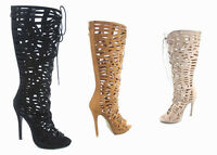 NEW Women's Zip Knee High Strappy Caged Cut Out Open Toe Dress Sandals SZ 5 - 10