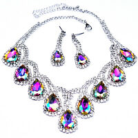Rhinestone Austrian Crystal Choker Necklace Earring Set AB