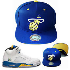Mitchell & Ness Miami Heats Snapback Hat Air Jordan 4 5 Retro Blue Yellow Cap